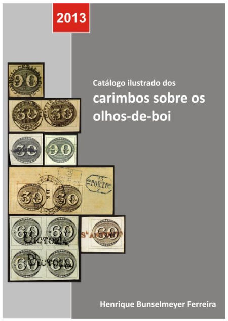 Capa Catálogo ilustrado de carimbos sobre olhos-de-boi